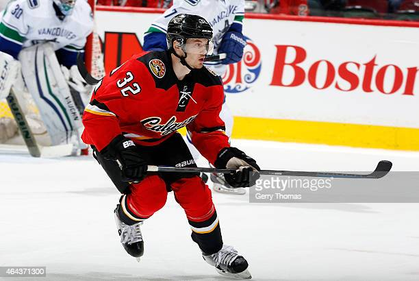 Paul Byron of the Calgary Flames skates against the Vancouver Canucks at Scotiabank Saddledome on February 14 2015 in Calgary Alberta Canada The...
