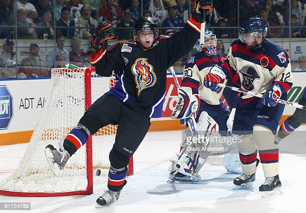 Paul Byron of the Gatineau Olympiques celebrates his 1st period goal in the opening game of the 2008 Memorial Cup against the Kitchener Rangers on...
