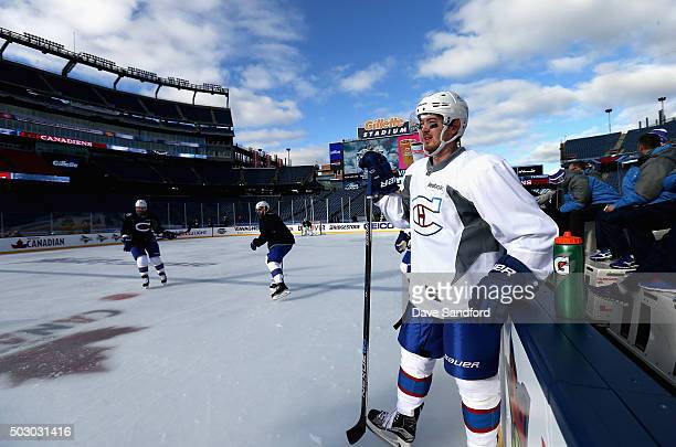 Paul Byron of the Montreal Canadiens attends practice for the 2016 Bridgestone NHL Classic at Gillette Stadium on December 31 2015 in Foxboro...