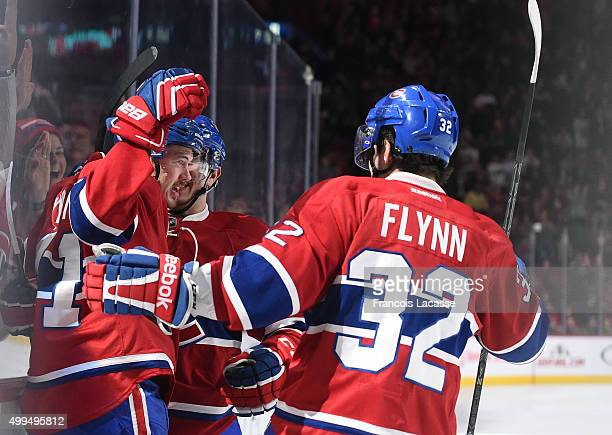 Paul Byron of the Montreal Canadiens celebrate after scoring a goal against the Columbus Blue Jackets in the NHL game at the Bell Centre on December...