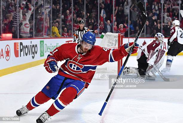 Paul Byron of the Montreal Canadiens celebrates after scoring a goal against Semyon Varlamov of the Colorado Avalanche in the NHL game at the Bell...
