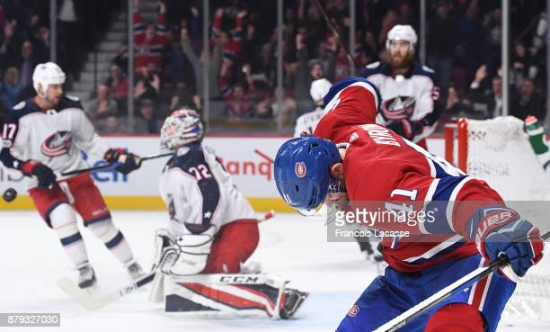Paul Byron of the Montreal Canadiens celebrates after scoring a goal against Sergei Bobrovsky of the Columbus Blue Jackets in the NHL game at the...