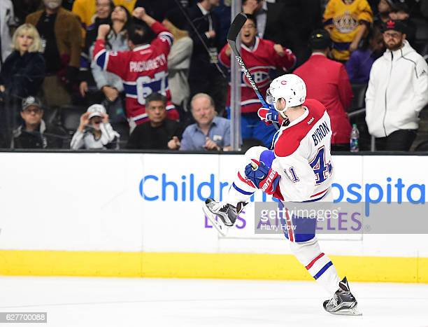 Paul Byron of the Montreal Canadiens celebrates his goal during the overtime sudden death shootout period to give the Canadiens a 54 win over the Los...