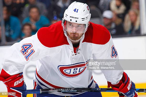 Paul Byron of the Montreal Canadiens faces off against the San Jose Sharks at SAP Center on December 2 2016 in San Jose California