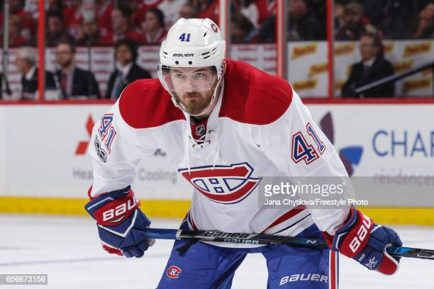 Paul Byron of the Montreal Canadiens looks on against the Ottawa Senators at Canadian Tire Centre on March 18 2017 in Ottawa Ontario Canada