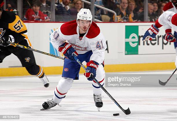 Paul Byron of the Montreal Canadiens moves the puck against the Pittsburgh Penguins at Consol Energy Center on November 11 2015 in Pittsburgh...