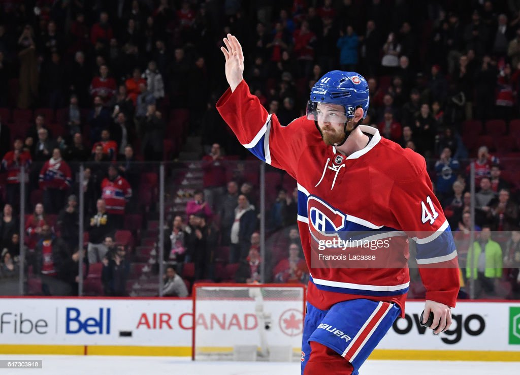 Paul Byron #41 of the Montreal Canadiens salutes the crowd after being named the first star of the game against the Nashville Predators in the NHL game at the Bell Centre on March 2, 2017 in Montreal, Quebec, Canada.