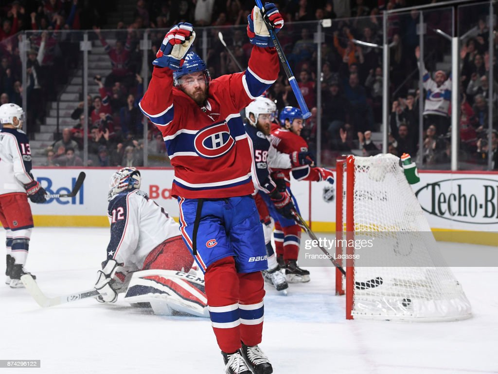 Paul Byron #41 of the Montreal Canadiens scores a goal on his 300th NHL career game, against the Columbus Blue Jackets in the NHL game at the Bell Centre on November 14, 2017 in Montreal, Quebec, Canada.