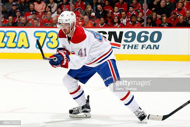 Paul Byron of the Montreal Canadiens skates against the Calgary Flames during an NHL game at Scotiabank Saddledome on October 30 2015 in Calgary...