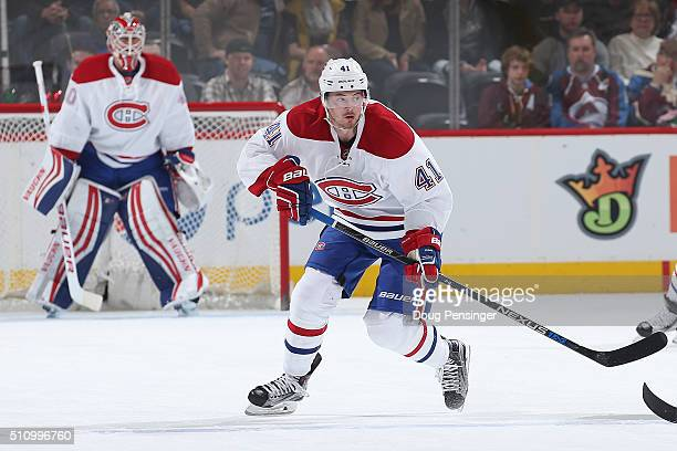 Paul Byron of the Montreal Canadiens skates against the Colorado Avalanche at Pepsi Center on February 17 2016 in Denver Colorado The Avalanche...