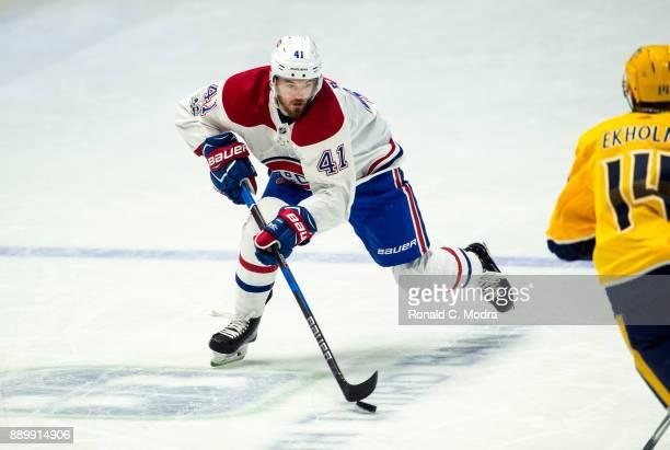 Paul Byron of the Montreal Canadiens skates against the Nashville Predators during an NHL game at Bridgestone Arena on November 22 2017 in Nashville...