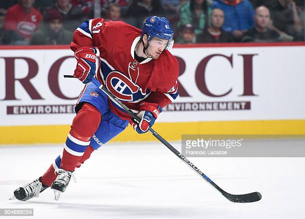 Paul Byron of the Montreal Canadiens skates against the New Jersey Devils in the NHL game at the Bell Centre on January 6 2016 in Montreal Quebec...