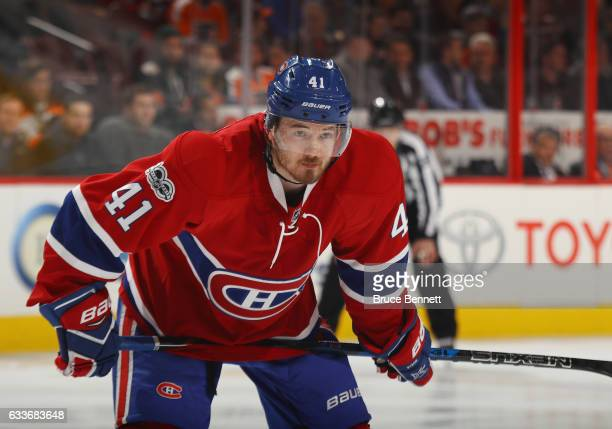 Paul Byron of the Montreal Canadiens skates against the Philadelphia Flyers at the Wells Fargo Center on February 2 2017 in Philadelphia Pennsylvania...