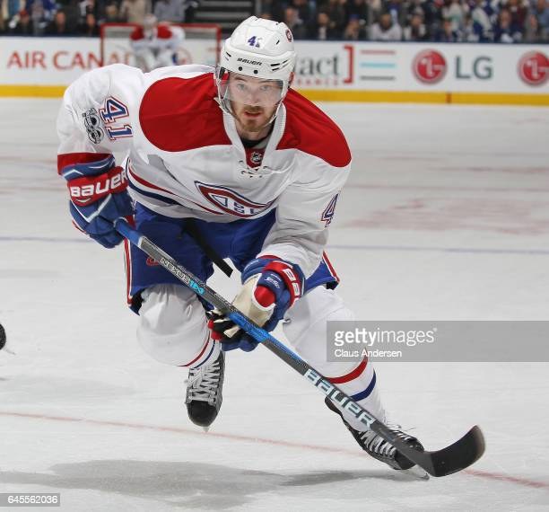 Paul Byron of the Montreal Canadiens skates against the Toronto Maple Leafs during an NHL game at the Air Canada Centre on February 25 2017 in...