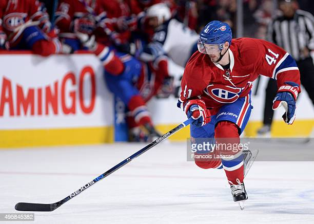 Paul Byron of the Montreal Canadiens skates against the Winnipeg Jets in the NHL game at the Bell Centre on November 1 2015 in Montreal Quebec Canada