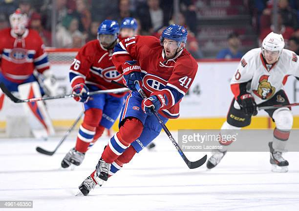 Paul Byron of the Montreal Canadiens skates for the puck against the Ottawa Senators in the NHL game at the Bell Centre on November 3 2015 in...