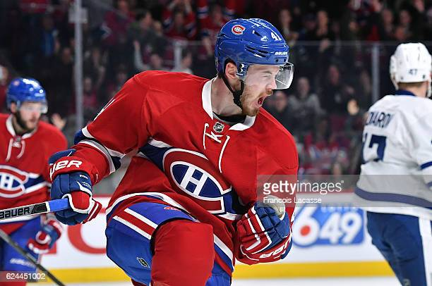 Paul Byron the Montreal Canadiens celebrates after scoring a goal against the Toronto Maple Leafs in the NHL game at the Bell Centre on November 19...