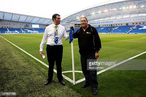 Paul Camillin Brighton Hove Albion Press Officer poses with Ian Abrahams from Talksport Radio ahead of the Carling Cup second round match between...