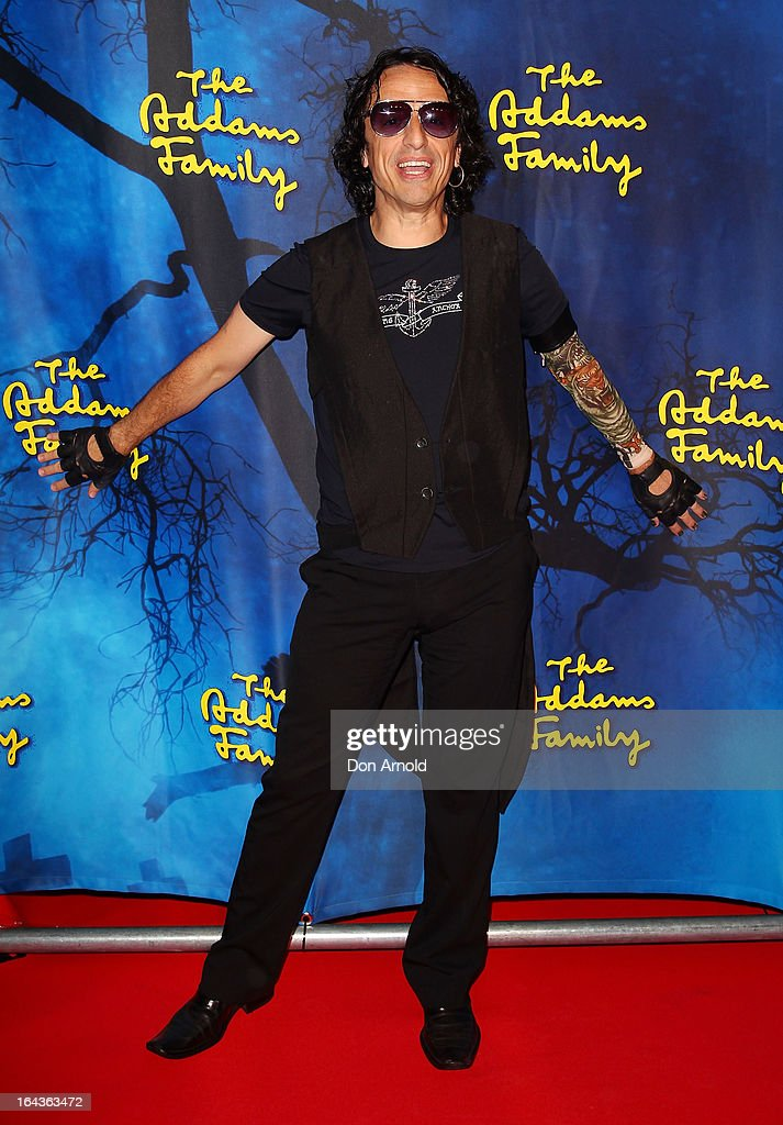 <a gi-track='captionPersonalityLinkClicked' href=/galleries/search?phrase=Paul+Capsis&family=editorial&specificpeople=604105 ng-click='$event.stopPropagation()'>Paul Capsis</a> arrives for 'The Addams Family' Musical Premiere at the Capitol Theatre on March 23, 2013 in Sydney, Australia.