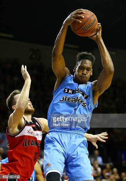 Paul Carter of the Breakers rebounds during the round 16 NBL match between the Illawarra Hawks and the New Zealand Breakers at the Wollongong...