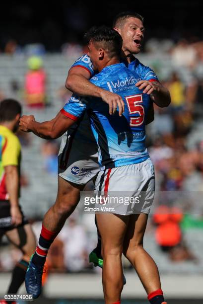 Paul Carter of the Roosters celebrates during the 2017 Auckland Nines semi final match between the Sydney Roosters and the Manly Sea Eagles at Eden...
