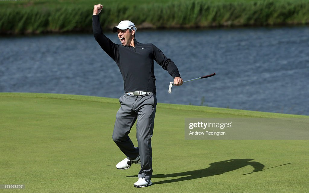 <a gi-track='captionPersonalityLinkClicked' href=/galleries/search?phrase=Paul+Casey&family=editorial&specificpeople=198895 ng-click='$event.stopPropagation()'>Paul Casey</a> of England celebrates his eagle putt on the 18th green during the final round of the Irish Open at Carton House Golf Club on June 30, 2013 in Maynooth, Ireland.