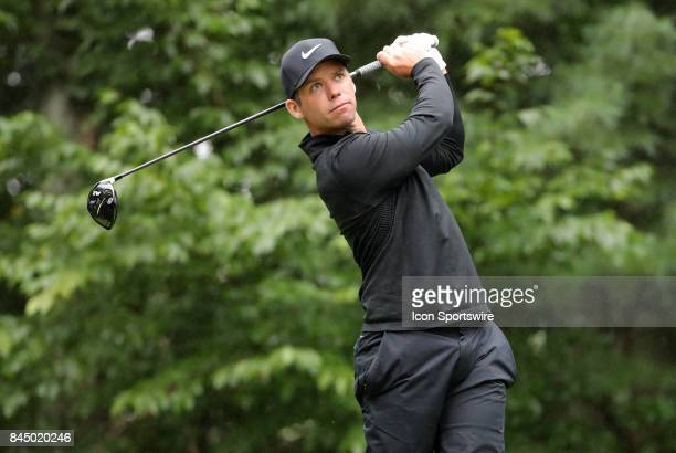 Paul Casey of England drives from the 9th tee during the third round of the Dell Technologies Championship on September 3 at TPC Boston in Norton...