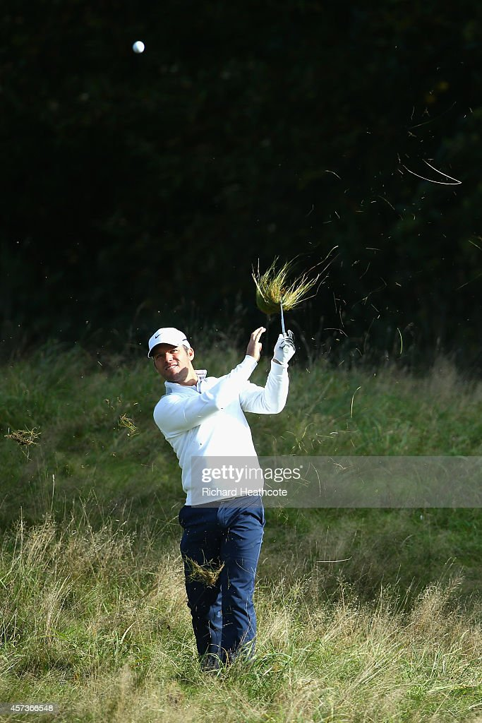 <a gi-track='captionPersonalityLinkClicked' href=/galleries/search?phrase=Paul+Casey&family=editorial&specificpeople=198895 ng-click='$event.stopPropagation()'>Paul Casey</a> of England hacks out of the rough on the 2nd during his first round match against Jonas Blixt of Sweden at the Volvo World Matchplay at The London Club on October 16, 2014 in Ash, England.