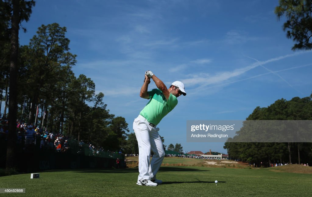 Paul Casey of England hits a shot during a practice round prior to the start of the 114th U.S. Open at Pinehurst Resort & Country Club, Course No. 2 on June 11, 2014 in Pinehurst, North Carolina.