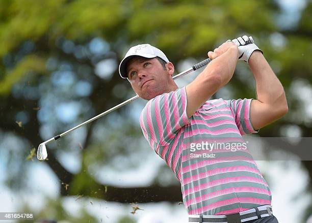 Paul Casey of England hits a tee shot on the 11th hole during the second round of the Sony Open in Hawaii at Waialae Country Club on January 16 2015...