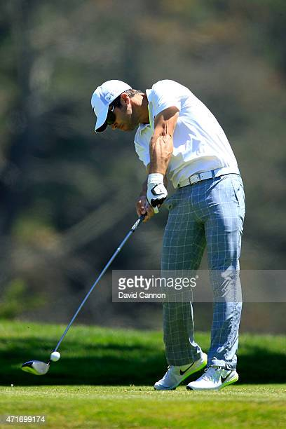 Paul Casey of England hits his tee shot on the 12th hole during round two of the World Golf Championship Cadillac Match Play at TPC Harding Park on...