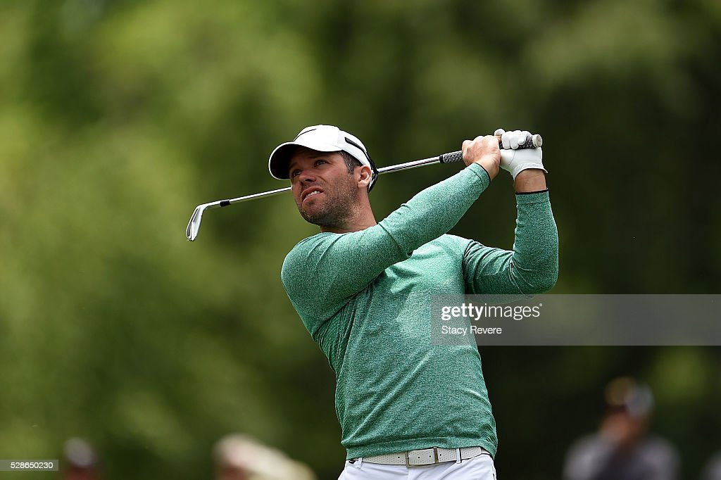 Paul Casey of England hits his tee shot on the 13th hole during the second round of the Wells Fargo Championship at Quail Hollow Club on May 6, 2016 in Charlotte, North Carolina.
