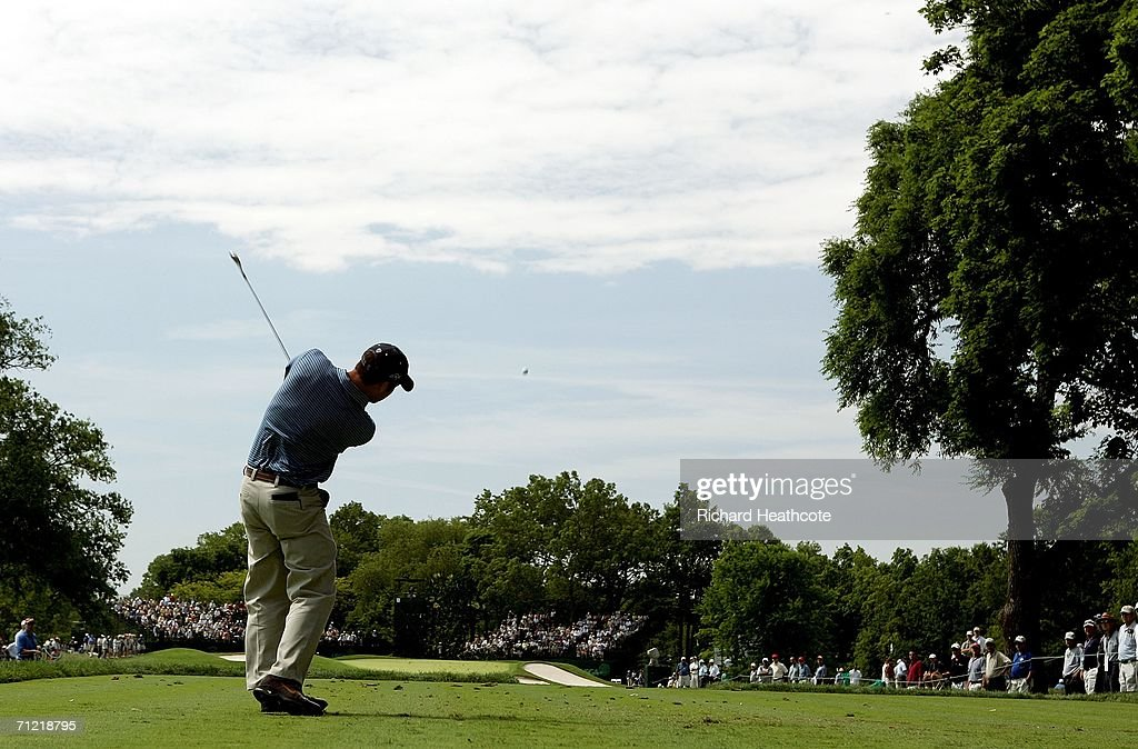 Paul Casey of England hits his tee shot on the 13th hole during the second round of the 2006 US Open Championship at Winged Foot Golf Club on June 16...