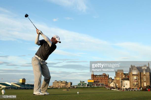 Paul Casey of England hits his tee shot on the 18th hole during the third round of the 139th Open Championship on the Old Course St Andrews on July...