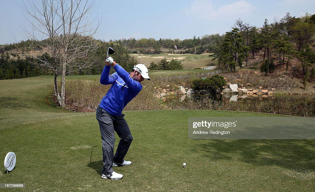 Paul Casey of England in action during the Pro Am tournament prior to the start of the Ballantine's Championship at Blackstone Golf Club on April 24, 2013 in Icheon, South Korea.