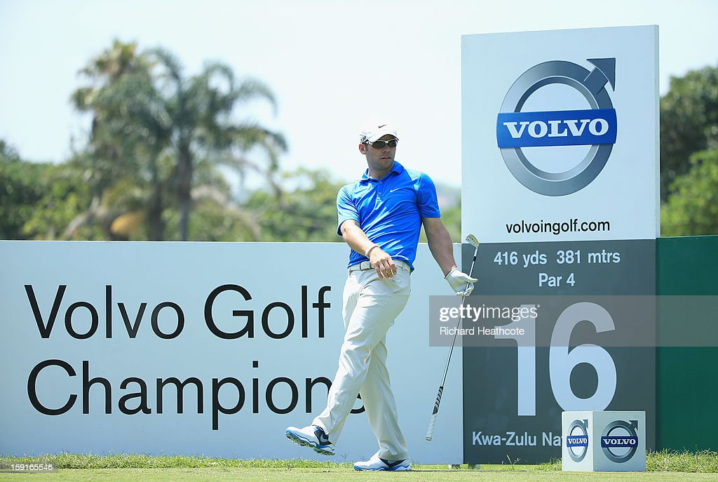 <a gi-track='captionPersonalityLinkClicked' href=/galleries/search?phrase=Paul+Casey&family=editorial&specificpeople=198895 ng-click='$event.stopPropagation()'>Paul Casey</a> of England in action during the Pro-Am for the Volvo Champions at Durban Country Club on January 9, 2013 in Durban, South Africa.