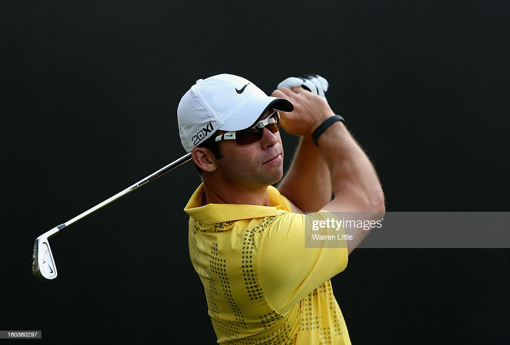 Paul Casey of England in action during the pro-am of the Omega Dubai Desert Classic at Emirates Golf Club on January 30, 2013 in Dubai, United Arab Emirates.