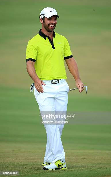 Paul Casey of England laughs on the fifth geen during the first round of the 114th US Open at Pinehurst Resort Country Club Course No 2 on June 12...