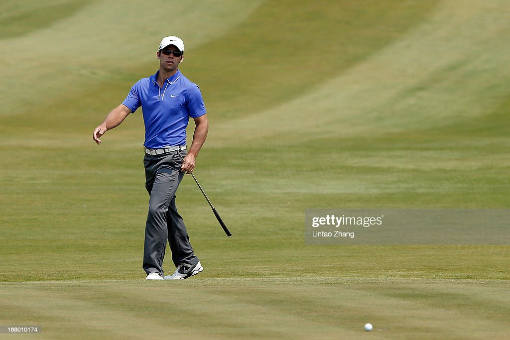Paul Casey of England lines up a putt during the third day of the Volvo China Open at Binhai Lake Golf Course on May 4, 2013 in Tianjin, China.