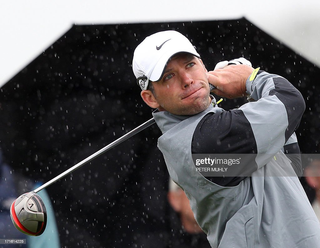 Paul Casey of England looks on after teeing off on the fourth hole during the first round of the Irish Open golf championship at Carton House Golf Club, Maynooth, Ireland on June 27, 2013.