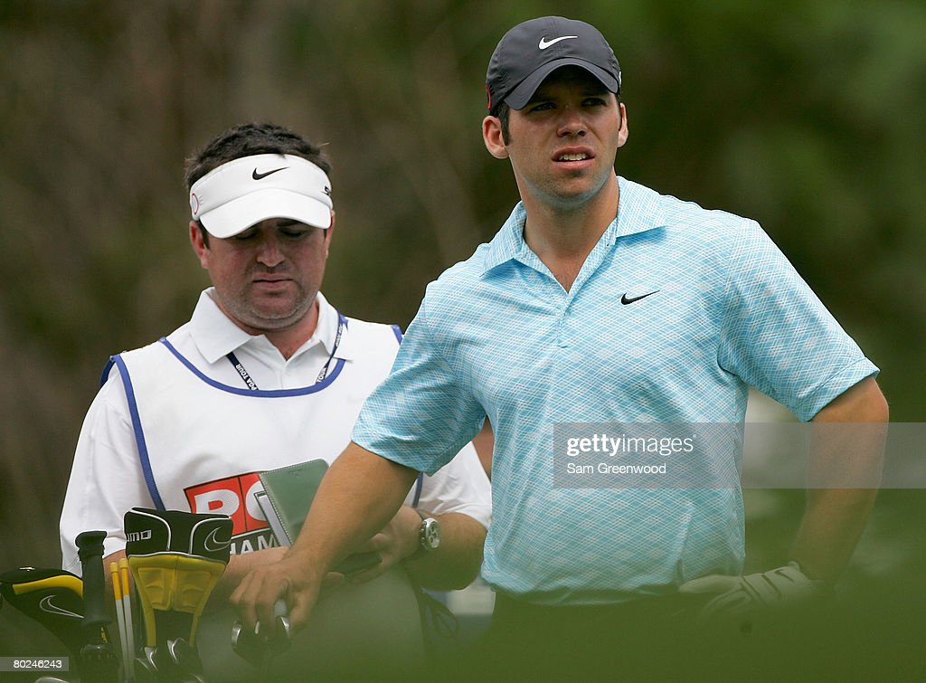 Paul Casey of England looks over the green on the 8th hole during the second round of the PODS Championship at Innisbrook Resort and Golf Club on March 7, 2008 in Palm Harbor, Florida.