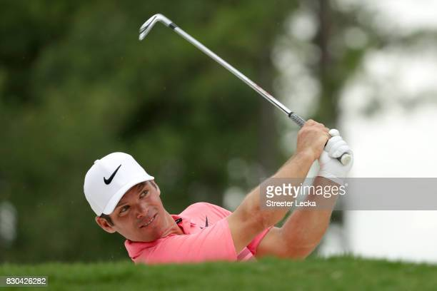 Paul Casey of England plays a shot from a bunker on the ninth hole during the second round of the 2017 PGA Championship at Quail Hollow Club on...