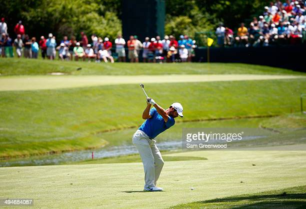 Paul Casey of England plays a shot on the 14th hole during the second round of the Memorial Tournament presented by Nationwide Insurance at Muirfield...