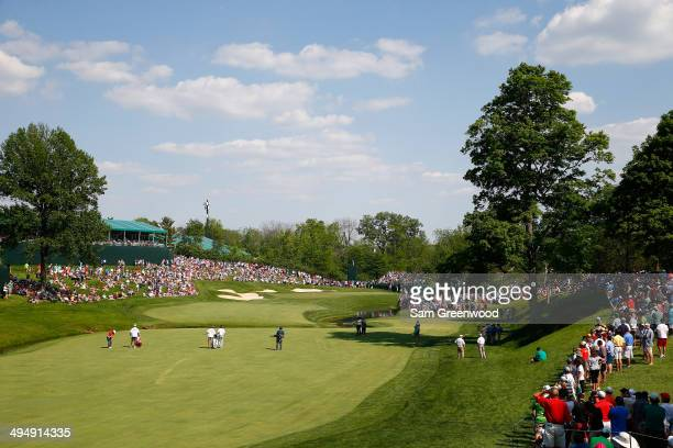 Paul Casey of England plays a shot on the 14th hole during the third round of the Memorial Tournament presented by Nationwide Insurance at Muirfield...