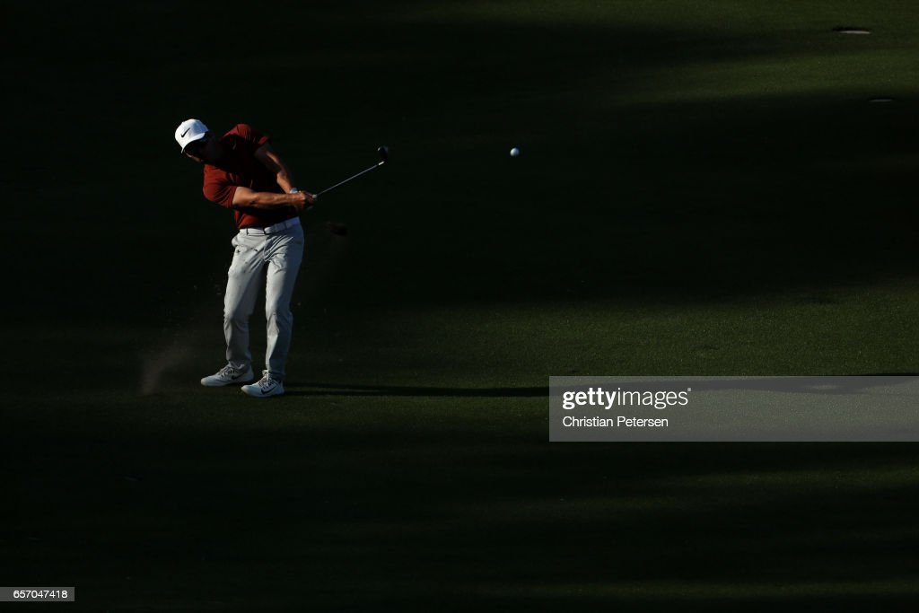 Paul Casey of England plays a shot on the 16th hole of his match during round two of the World Golf Championships-Dell Technologies Match Play at the Austin Country Club on March 23, 2017 in Austin, Texas.