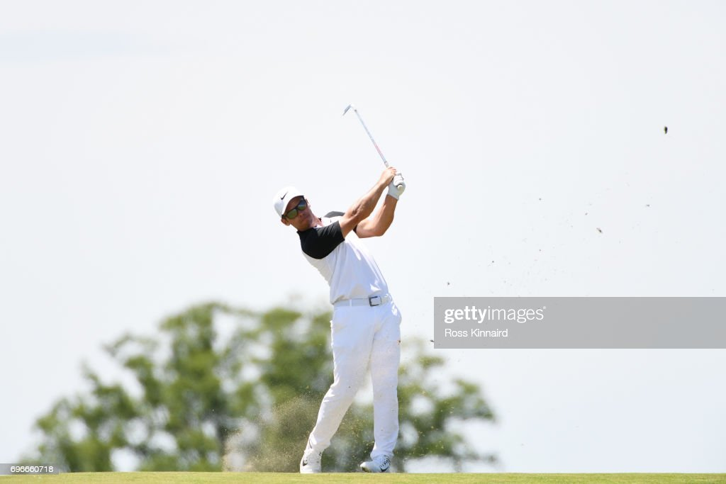 Paul Casey of England plays his second shot on the eighth hole during the second round of the 2017 U.S. Open at Erin Hills on June 16, 2017 in Hartford, Wisconsin.