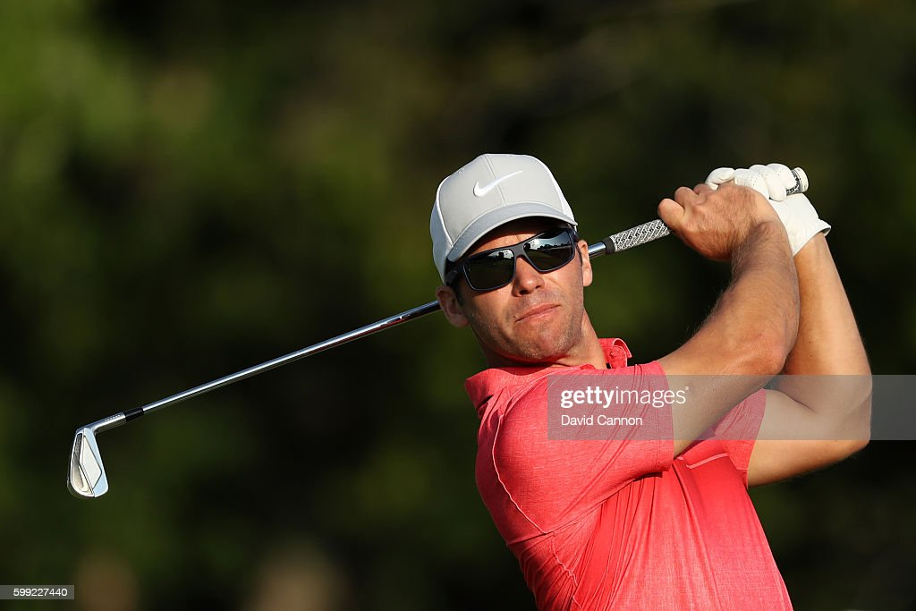 Paul Casey of England plays his shot from the 17th tee during the third round of the Deutsche Bank Championship at TPC Boston on September 4, 2016 in Norton, Massachusetts.