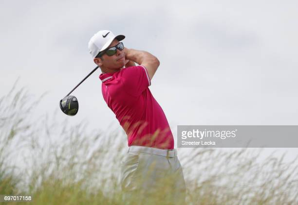 Paul Casey of England plays his shot from the fifth tee during the third round of the 2017 US Open at Erin Hills on June 17 2017 in Hartford Wisconsin