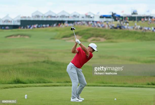 Paul Casey of England plays his shot from the first tee during the third round of the 2017 US Open at Erin Hills on June 17 2017 in Hartford Wisconsin