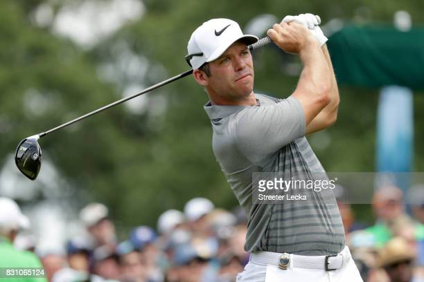Paul Casey of England plays his shot from the first tee during the final round of the 2017 PGA Championship at Quail Hollow Club on August 13 2017 in...